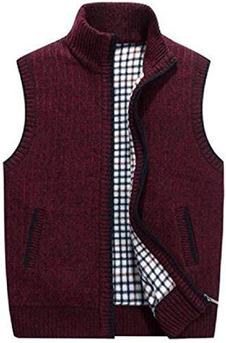 Men Stand Collar Full-Zip Cardigan Sleeveless Sweater Vest Waistcoat,1,Small