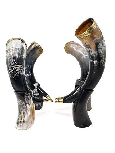 Bhartiya Handicrafts calici vichingo corno bevente tazza per birra, Mead, Ale, ceramica di ispirazione medievale alimentare tazza sicura | Game of Thrones Horn con supporto (Thor Hammer, 40,5 cm)
