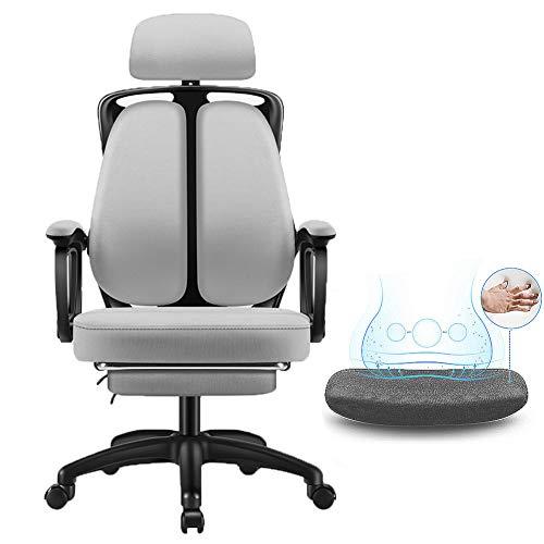 Gaming Chair Racing Sillas de Oficina, Sillas de Jugador Silla de Escritorio Diseño ergonómico reclinación de 135 ° | Soporte de Cintura Tridimensional con Doble Espalda 3D,D,Mesh with Footstool
