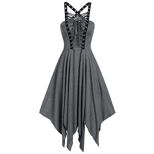 Damen Kleid Gothic Vintage Casual Kleid Piebo Frauen Ärmelloses Schnürung Rückenfrei Swing Kleid Cocktailkleid Karneval Kostüm Cosplay Party Minikleid mit Ledergürtel Reißverschluss (2XL, A-Grau)