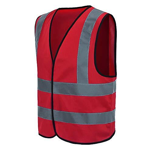 Auto Warnweste, Sicherheitsweste, Pannenweste für Auto, Fahrrad, Waschbar, arbeschutzkleidung (L, Rot)