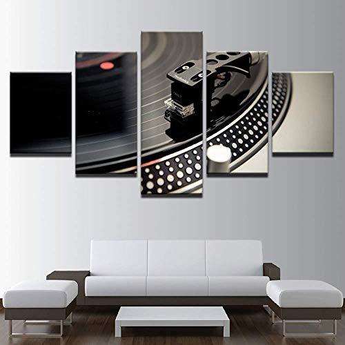 Samorou Ballsaal Bar Dj Instrument Plattenspieler Nachtclub 5 Aufeinanderfolgende HD Leinwand Gemälde Wohnzimmer Küche Dekoration Bild DIY Wandbild (Holzrahmen)