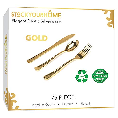 Stock Your Home Plastic Cutlery Heavy Duty 75 Pieces Gold Plastic Silverware- Disposable Flatware Set-Heavyweight Plastic Cutlery- Includes 25 Forks, 25 Spoons, 25 Knives (Gold)