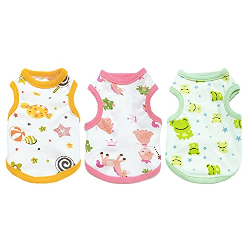 PETCARE 3 Pack Dog Shirt for Small Dogs Soft Cotton Puppy Tee Shirts Cute Cartoon Breathable Sleeveless Cat Clothes T-Shirt Kitten Spring Summer Vest Doggy Pajamas Pet Apparel