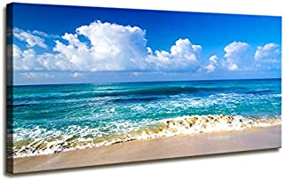 Large Size Blue Beach Theme Modern Stretched and Framed Seascape 1 Panels Giclee Canvas Prints Artwork Landscape Big Framed Canvas Wall Art for Home Decor and Living Room Decorations