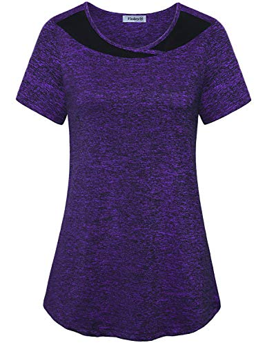 Vindery Exercise Tops Women Loose,Ladies Short Sleeve Basic Training Shirts Dry Fit Casual Activewear Running Tee Lightweight Thin Good Bounce Leisure Gym Clothes Prime,Purple 2X
