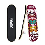 Teamgee Complete Skateboards,31'x8' Standard Skateboards for Adults Youth Teens Boys Girls Kids Beginners,7 Layer Canadian Maple Double Kick Concave Skate Board Cruiser Longboard