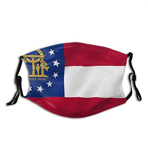 Facial Scarf,Georgia State Flag Bundesstaat Georgia Ga Flaggen Elastischer Personalisierter Mundschutz Für Pollenallergie,20x15cm