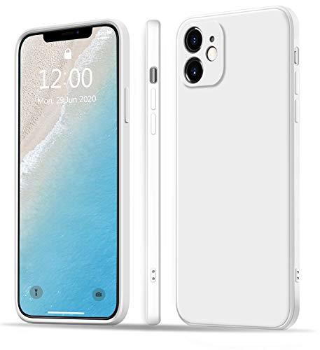 LiveRowing Funda para iPhone 11, Elegante Funda Cuadrada Ultra Fina de Silicona líquida para Apple iPhone 11 6,1 Pulgadas [protección contra caídas, Antideslizante] – Color Blanco