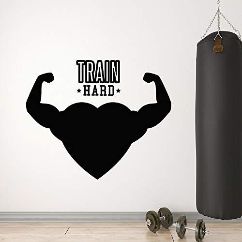 Tianpengyuanshuai Muurtattoo Trek Gym Fitness Club Decoratie Muscle Creative Love Vinyl venster zelfklevend 63 x 76 cm