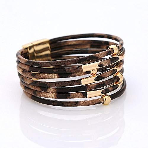 tggh Pulsera de mujer vintage de piel de leopardo para mujer 2021 pulseras y brazaletes elegantes de múltiples capas de cuero (color metálico: leopardo marrón oscuro)