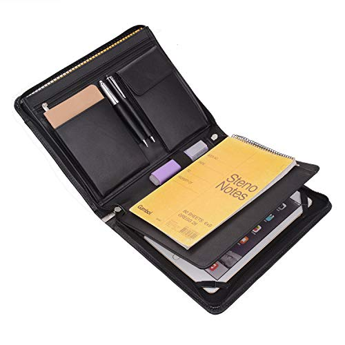 Tablet Portfolio Case with Notepad Holder, Zippered Leather Portfolio Case for Galaxy Tab S4/ Tab S5e/ Tab S6 10.5""