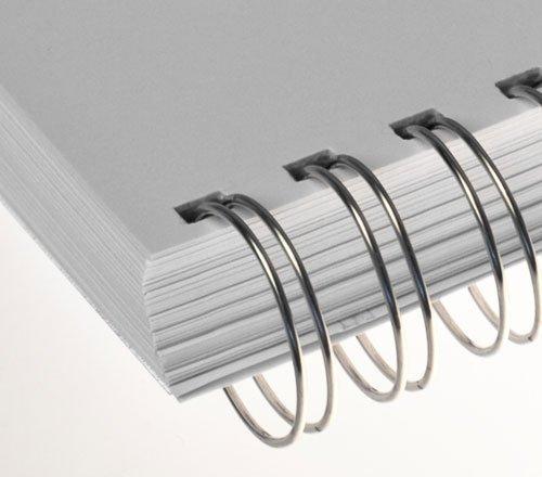 Renz Ring Wire Drahtkamm-Bindeelemente in 3:1 Teilung, 34 Schlaufen, Durchmesser 12.7 mm, 1/2 Zoll, silber/matt