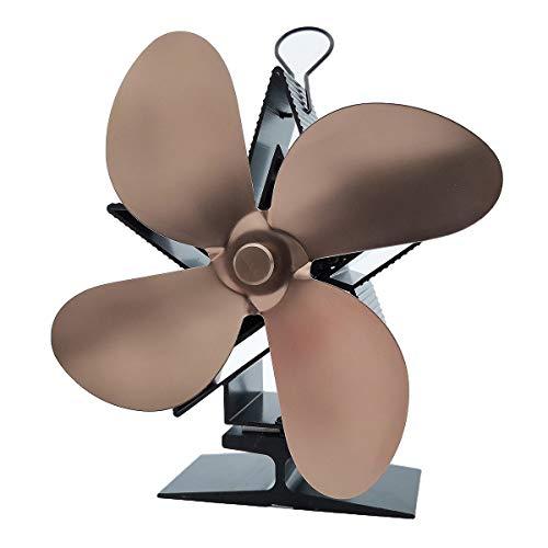 Verve Jelly Kaminventilator, Ofenventilator mit Thermometer, automatischer und leiser Betrieb, Kamin Ventilator mit 4 Blättern für Herde, Holzofen und Kaminen