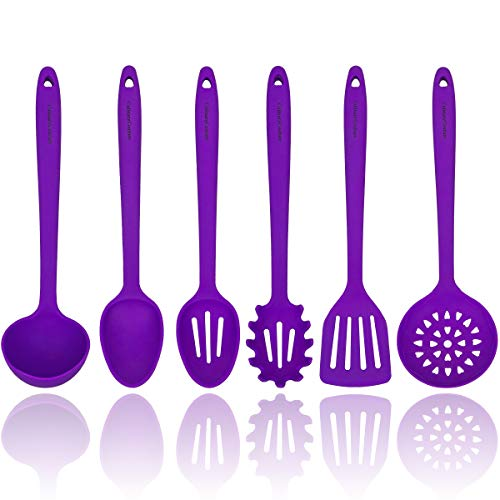 Purple Silicone Cooking Utensils Set – Sturdy Steel Inner Core – Spatula, Mixing & Slotted Spoon, Ladle, Pasta Server, Drainer – Heat Resistant Kitchen Tools - Bonus Recipe Ebook