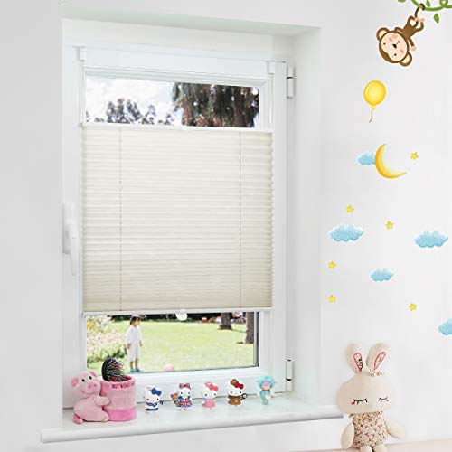 Grandekor Plissee Klemmfix lichtdurchlässig Kinderzimmer, Plisseerollo Jalousien ohne Bohren Sichtschutz & Sonnenschutz Schlafzimmer für Fenster & Tür - 90x130cm (BxH) Beige