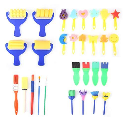 Cepillos de espuma de 29 piezas para pintar, material de de plástico duradero, herramientas de dibujo que mejoran la creatividad de los niños,