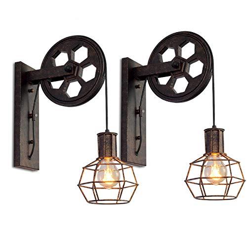 Lot de 2 Appliques Murales Industrielle, iDEGU Éclairage Mural Vintage Poulie Lampe de Mur Luminaire Intérieur...