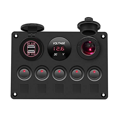 LIULIANG MeiKeL Panel de Interruptor de Barco Panel de Interruptor de Coche Impermeable voltímetro Digital Dual USB COMBINACIÓN DE OUTLE DE Port 12V Marine DIRIGIÓ Rocker 5 Gang (Color : Red)