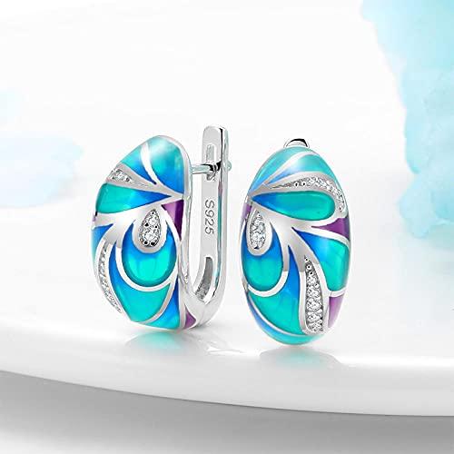 XCWXM Pendientes de Plata esterlina para Mujer 925 Flores de Lujo de Plata de Primera Ley Brillantes Pendientes Verdes y Azules de Moda y exquisito-AE00135