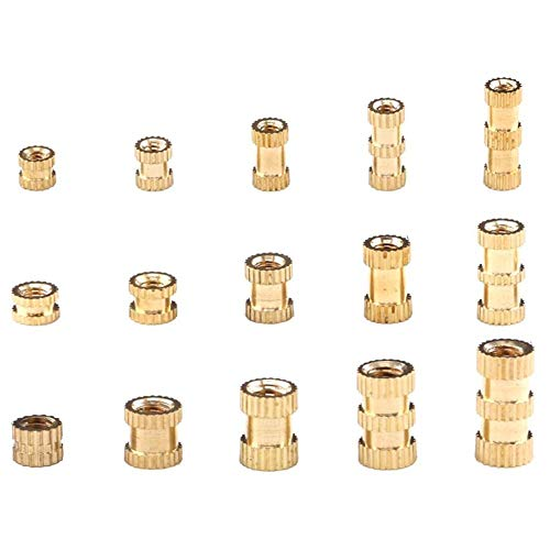 250pcs M2 M3 M4 Female Thread Knurled Nuts Brass Threaded Assortment Set with Hex Spanner