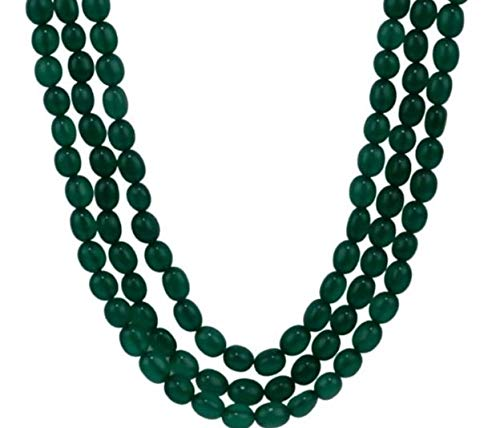 Manbhar Gems Emerald Green Onyx Gemstone Beads Necklace for Girl and Women 3 Layer Fashion Ethnic Strand Green Colour Mala Bridal Kantha Jewellery Earring 1 Pair