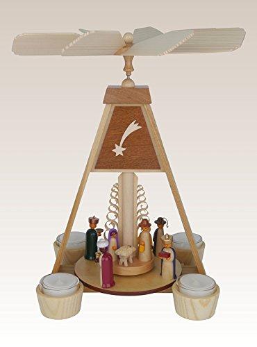Pyramide Christi Geburt, Holz, farbig lasiert, Teelichter - Tischpyramide Weihnachtspyramide – 34,5 cm - NEU