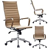 2xhome - Tan High Back Tall Ribbed PU Leather Swivel Tilt and Height Adjustable Chair Modern Designer Boss Executive Management Manager Office Conference Chair