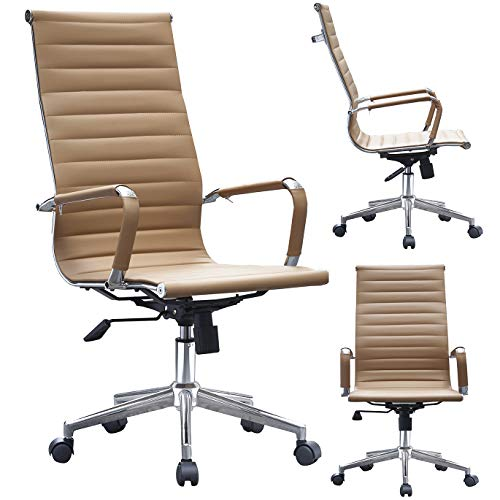 2xhome - Tan - Ribbed Office Chair Tan Beige Ribbed Modern PU Leather Executive with Wheels, Arms, Arm Rest & Tilt Adjustable Seat