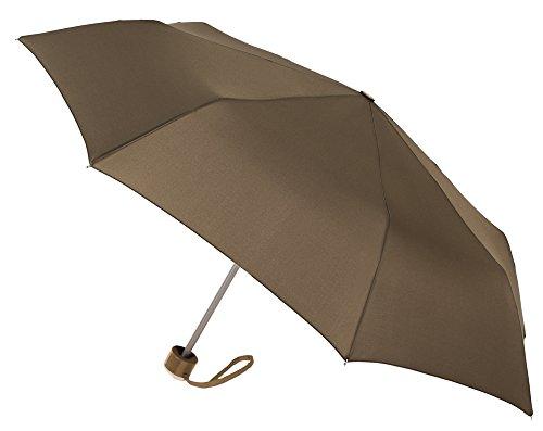 Paraguas básico de Vogue, Plegable y antiviento. Déjalo en el Coche o en tu Lugar de Trabajo, y tenlo Siempre a Mano para protegerte de Las Lluvias inesperadas. (Marrón)