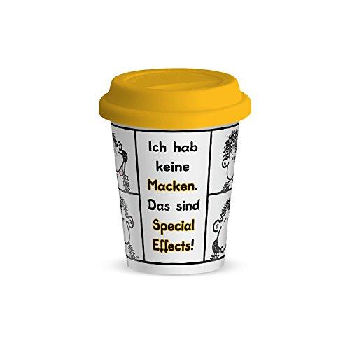Sheepworld 44414 kleiner Spruch Macken, Porzellan mit Silikon Deckel, 25 cl Becher, Gelb, 8.5 cm