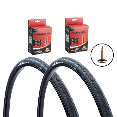 PAR de Vandorm Road Route 700 x 28c Fast Road Bike Cycling Tyres & Presta Tubes