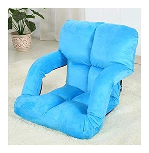 Sheeouis Sofá Perezoso Plegable Textiles para el hogar Privado Piso Lazy Sofa Tatami Cama Individual Creativa Plegable de Ocio Reclinador (Color: Negro) (Color : Blue)