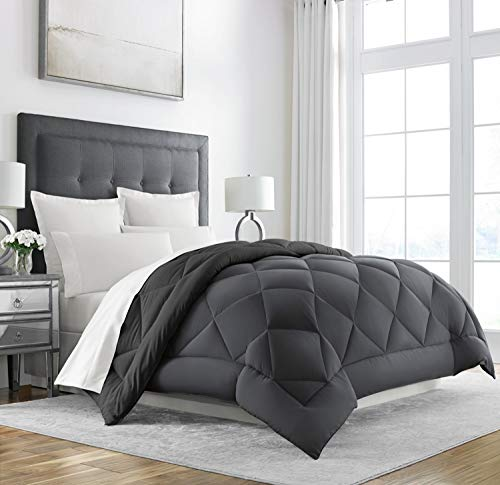 Sleep Restoration Down Alternative Comforter - Reversible - All-Season Hotel Quality Luxury Hypoallergenic Comforter -Full/Queen - Grey/Black
