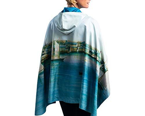 RainCaper Rain Poncho for Women - Reversible Waterproof Hooded Cape in Gorgeous Ultrasoft Colors (Fine Art- Newport Harbor)