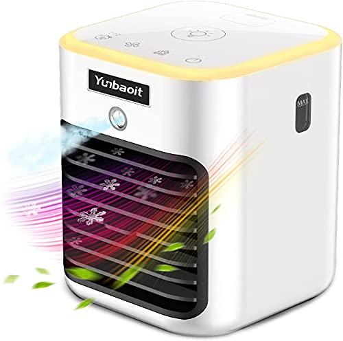 Mobiles Klimaanlage,Yunbaoit Mini Luftkühler,5 IN 1 Mobiles Klimagerät,Luftreinigender Kühlerlüfter mit LED-Licht,3 Timer und 3 Geschwindigkeiten,für Büro und Heim
