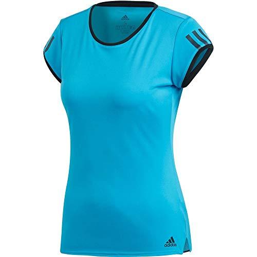 adidas Club 3-Stripes T-Shirt-Hellblau, Schwarz Camisetas, Mujer, Azul Claro, Extra-Small