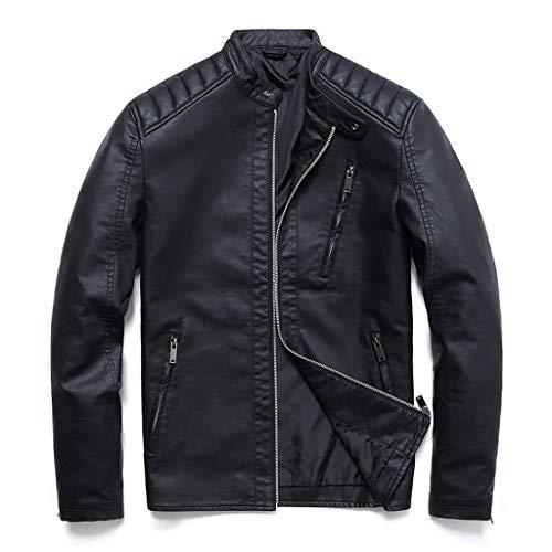 Men Faux Leather Jackets,Lapel PU Bomber Moto Jacket Punk Zipper Classic Slim Pockets Solid Biker Black