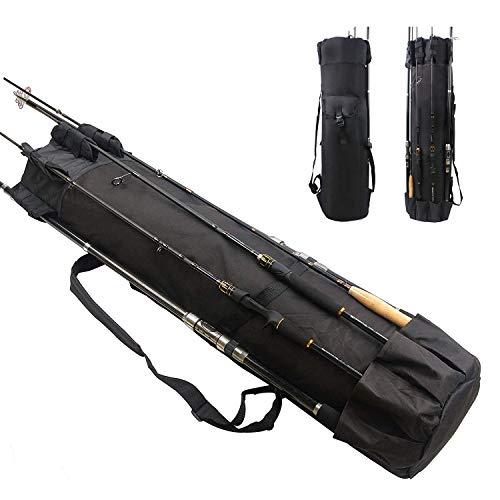 AGOOL ロッドスタンド ロッドケース 釣竿収納 タックルボックス収納 多機能フィッシングバッグ 大容量 軽量 防水 (ブラック)