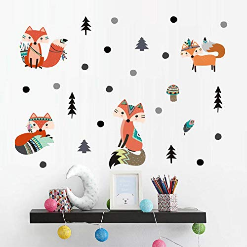 Fox Wall Decal, H2MTOOL Removable Forest Animal Wall Stickers for Kids Room Decor (Fox Forest)