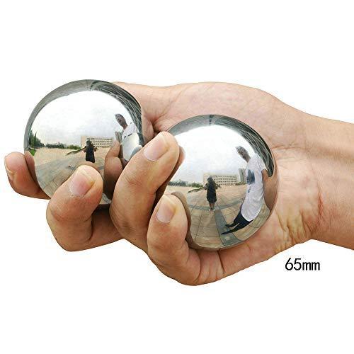 Hjyi Baoding Balls, Cinese Salute Esercizio Sfere di Sforzo, Acciaio Inossidabile Baoding Sfere con Custodia per Il Trasporto, Cinesi Salute Palle di Terapia della Mano, Esercizio