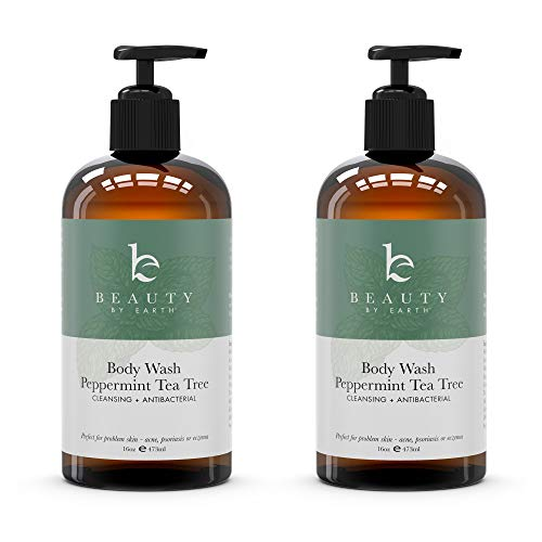 Peppermint Tea Tree Body Wash - Organic Body Wash, Natural Body Wash for Women & Mens Body Wash Tea Tree Soap, Shower Gel Body Wash For Men Tea Tree Oil Body Wash Organic Antifungal Body Wash Pump (2)