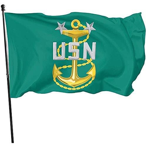 KDU Fashion Outdoor Seasonal vlag, Amerikaanse vlinderdas bries vlag - Marine Master Chief Petty Officer (Mcpo) Stijlvolle seizoensgebonden vlaggen voor huis welkom decoratie 90x150cm