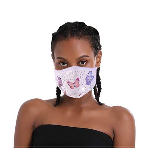Glänzend Strass Mund und Nasenschutz mit Schmetterling Motiv, Unisex Waschbar Glitzer Mundschutz, Wiederverwendbar Atmungsaktiv Staubdichte für Home-Office