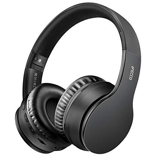 Ifecco Bluetooth5.0 Estéreo Auriculares Música Sobre-oído Sonido de alta fidelidad, Bluetooth Banda para la cabeza plegable con micrófono y cable de audio para Apple iPhone, PC(Negro 1)