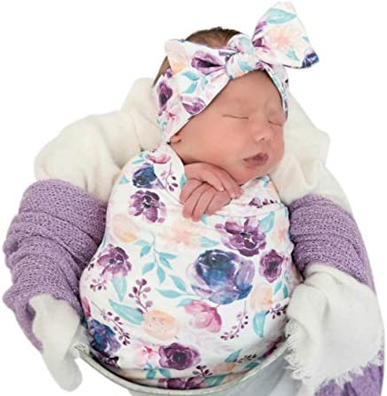 Newborn Floral Print Blanket Baby Stretch Wrap Swaddle Blanket Receiving Blanket with Matching product image