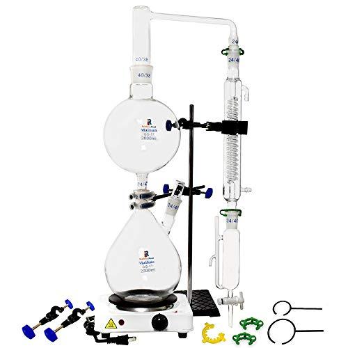 Aparato de destilación de aceites esenciales de 2000 ml Kits de cristalería de laboratorio Kits de purificador de destilador de agua de vapor con embudo de separación de estufa caliente (2000ml)