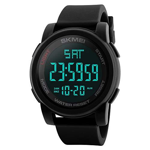 FeiWen Grande Número Digitales Deportivo Relojes de Hombre Outdoor Militar 50M Impermeable LED Electrónica Multifuncional Plástico Bisel con Goma Correa Reloj de Pulsera, Negro
