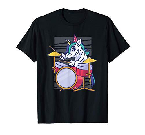 Unicornio de dibujos animados cómico tocando la batería Camiseta