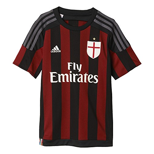 adidas, Maglietta Bambino AC Milan Home, Nero (Black/Victory Red S04/Granite), 128 cm